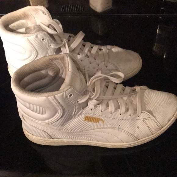 Puma Shoes | White Hi Top Sneakers Size